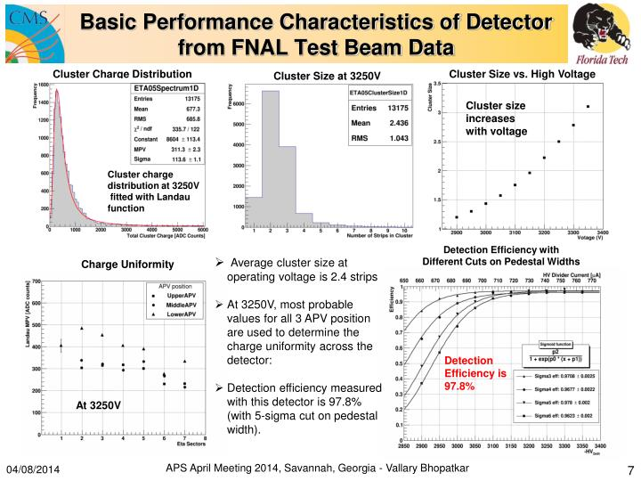 Basic Performance Characteristics of Detector from FNAL Test Beam Data