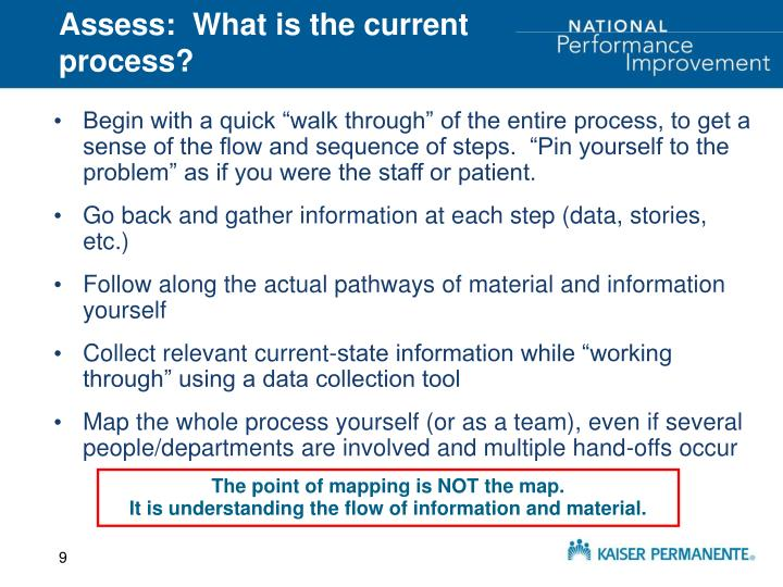 Assess:  What is the current process?