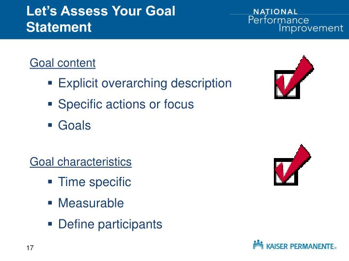 Let's Assess Your Goal Statement