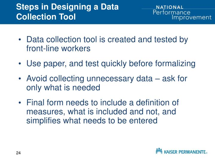 Steps in Designing a Data Collection Tool