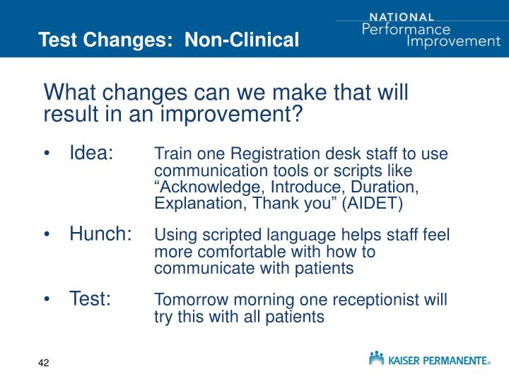 Test Changes:  Non-Clinical