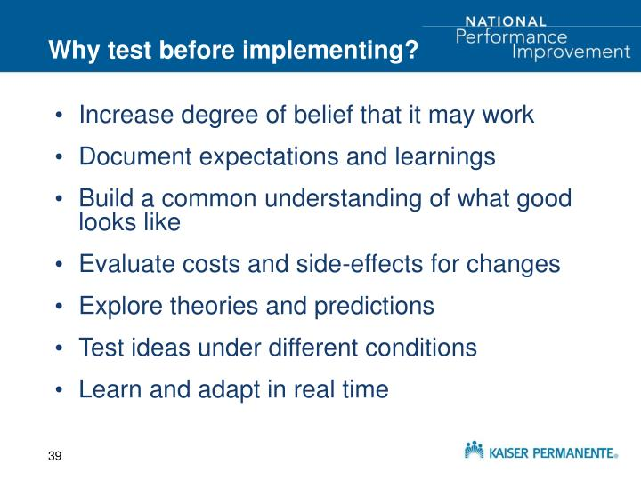 Why test before implementing?