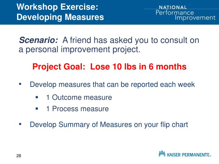 Workshop Exercise:  Developing Measures