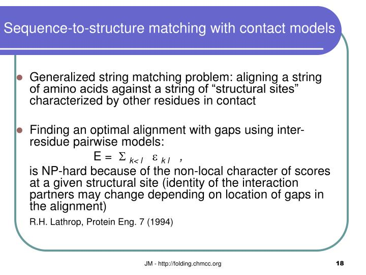 Sequence-to-structure matching with contact models