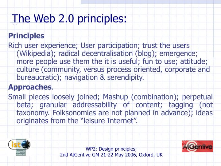 The Web 2.0 principles: