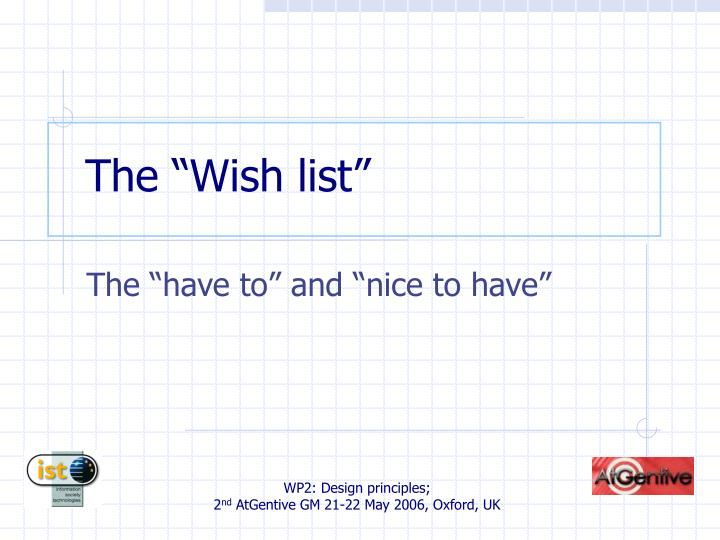 "The ""Wish list"""