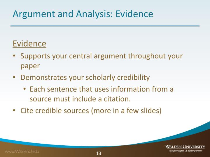 Argument and Analysis: Evidence