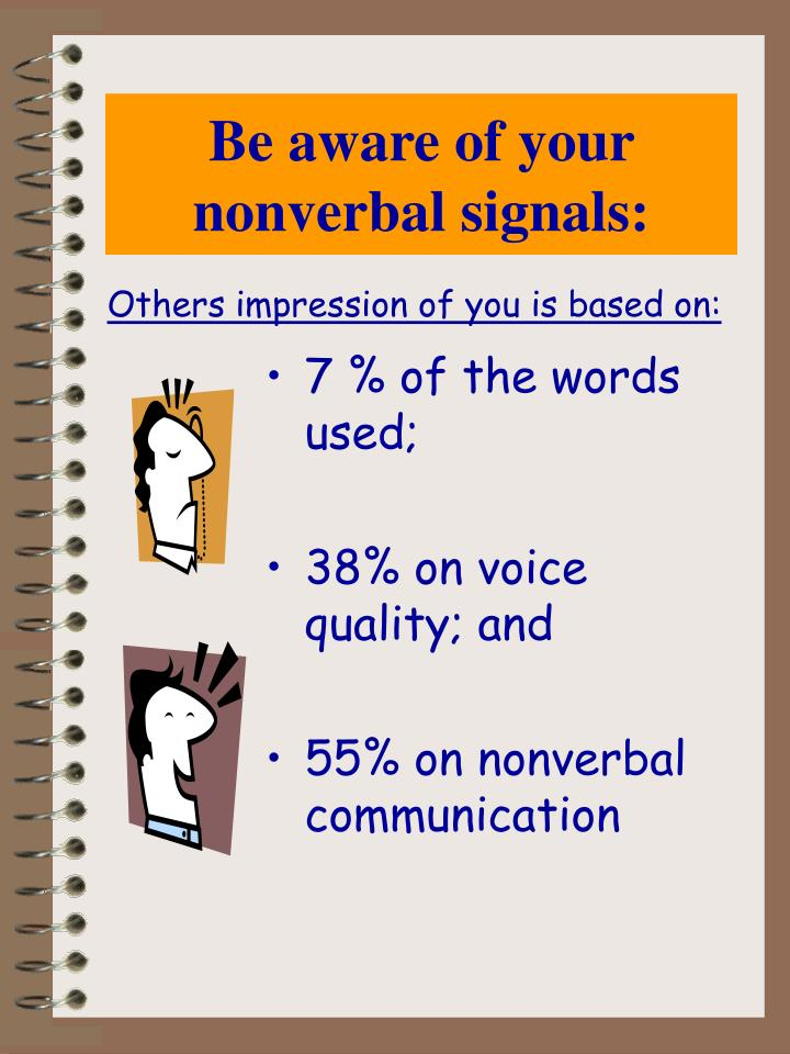 Be aware of your nonverbal signals: