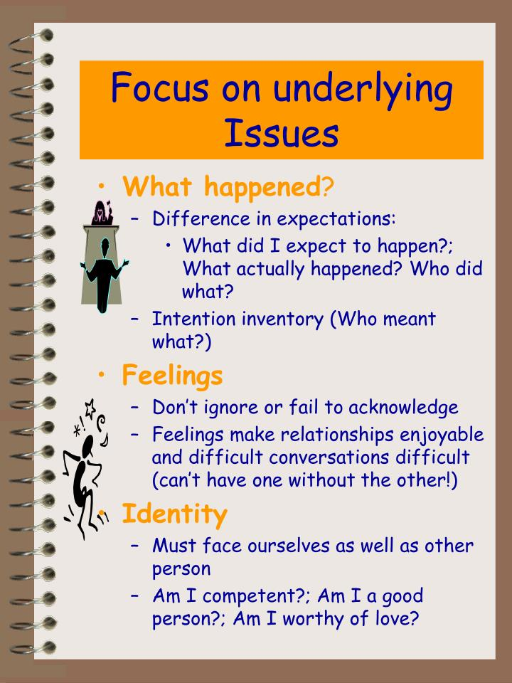 Focus on underlying Issues