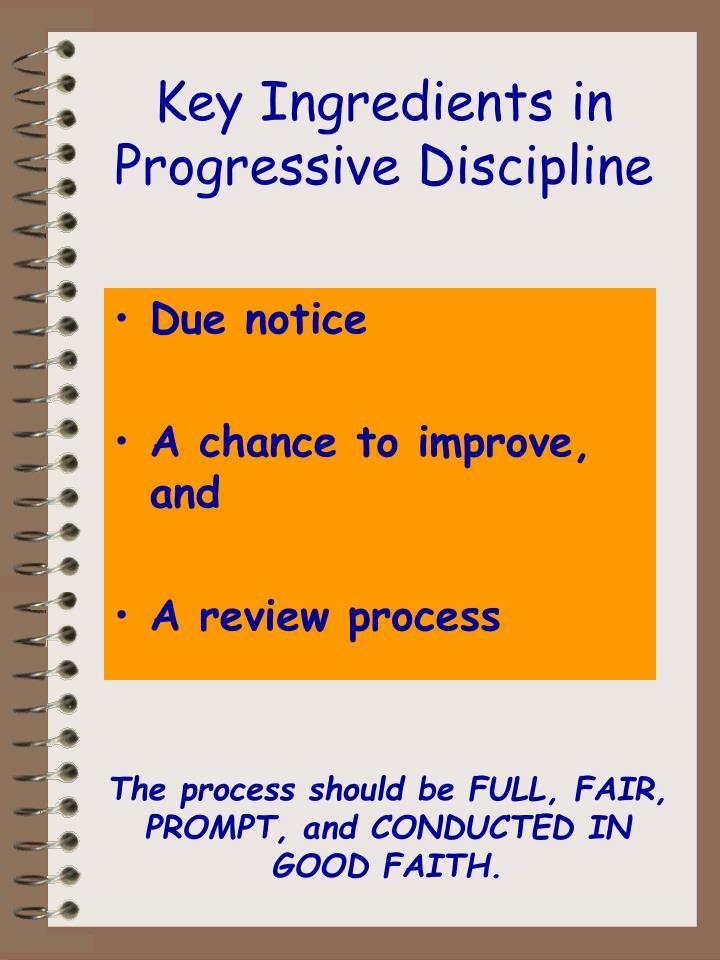 Key Ingredients in Progressive Discipline