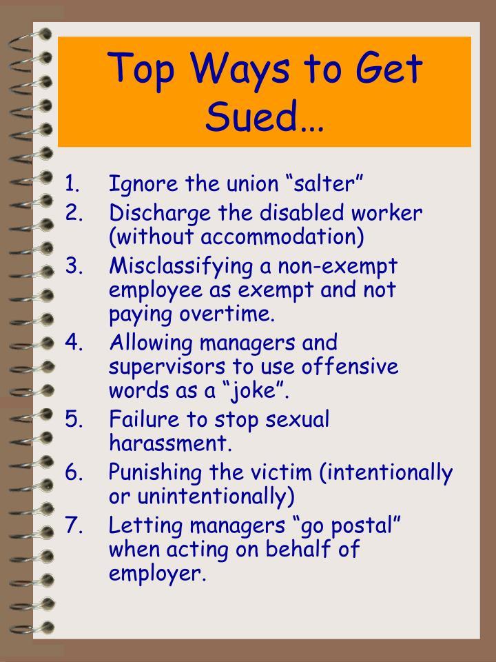 Top Ways to Get Sued…