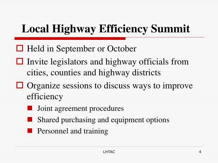 Local Highway Efficiency Summit