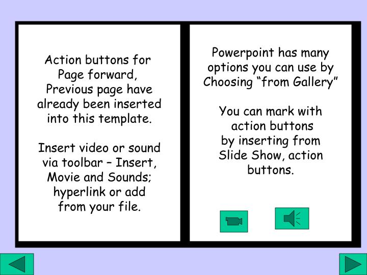 Action buttons for