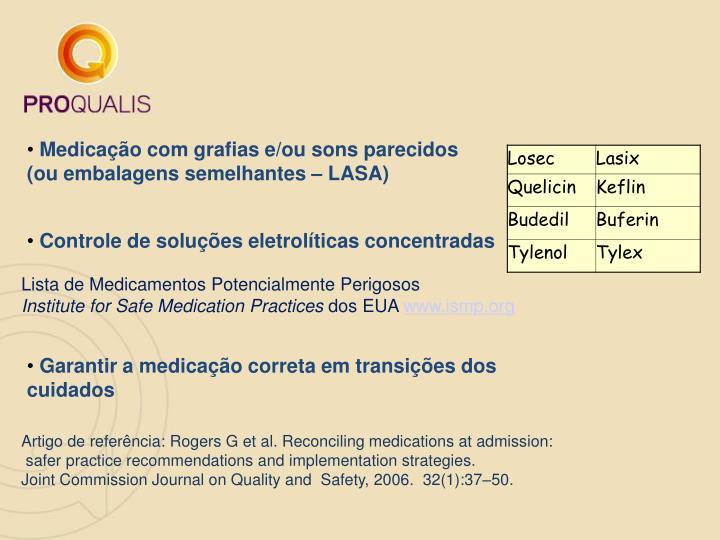 Medicação com grafias e/ou sons parecidos (ou embalagens semelhantes – LASA)