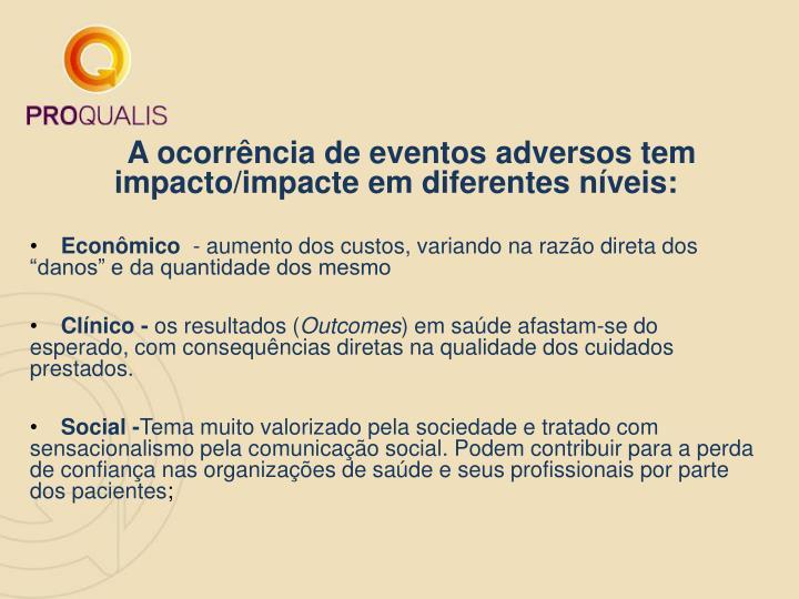 A ocorrência de eventos adversos tem impacto/impacte em diferentes níveis: