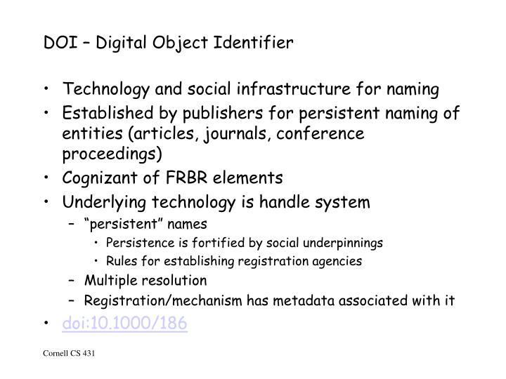 DOI – Digital Object Identifier