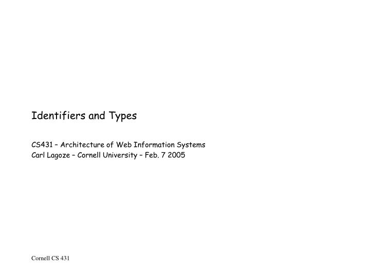 Identifiers and types