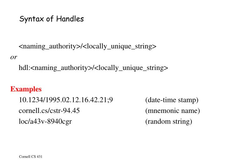 Syntax of Handles