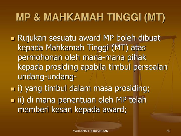 MP & MAHKAMAH TINGGI (MT)