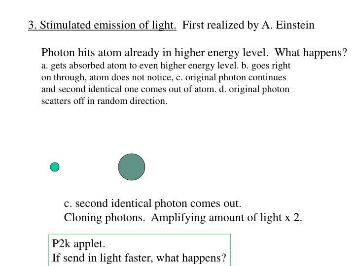 3. Stimulated emission of light.