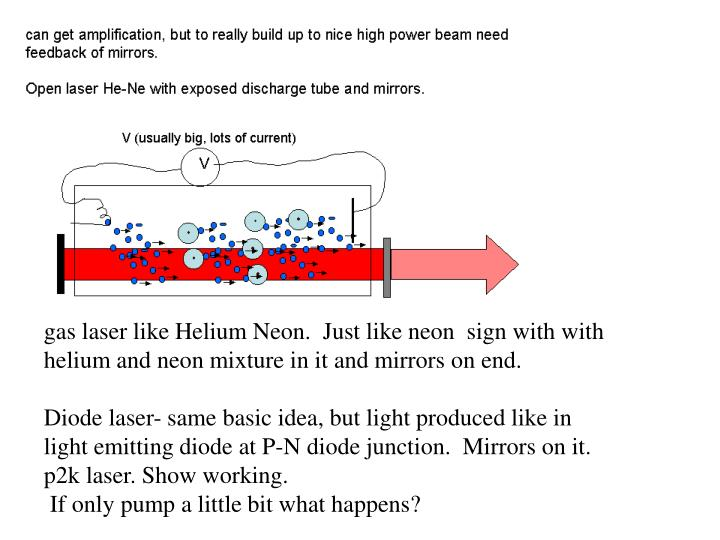 gas laser like Helium Neon.  Just like neon  sign with with helium and neon mixture in it and mirrors on end.