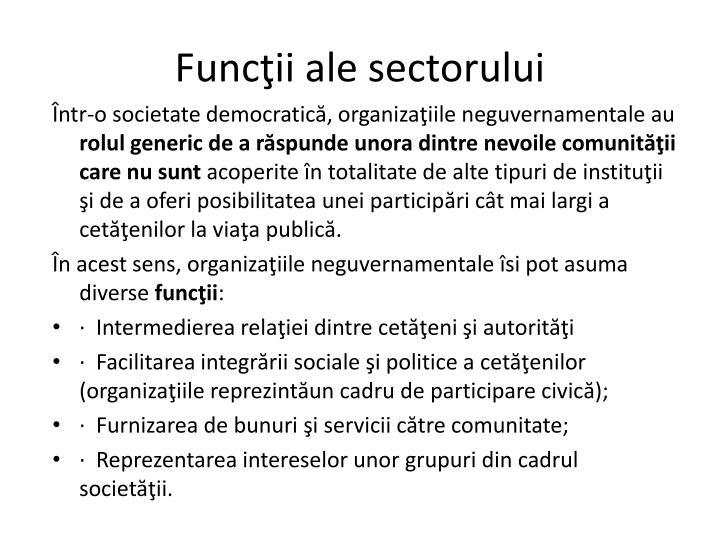 Funcţii ale sectorului