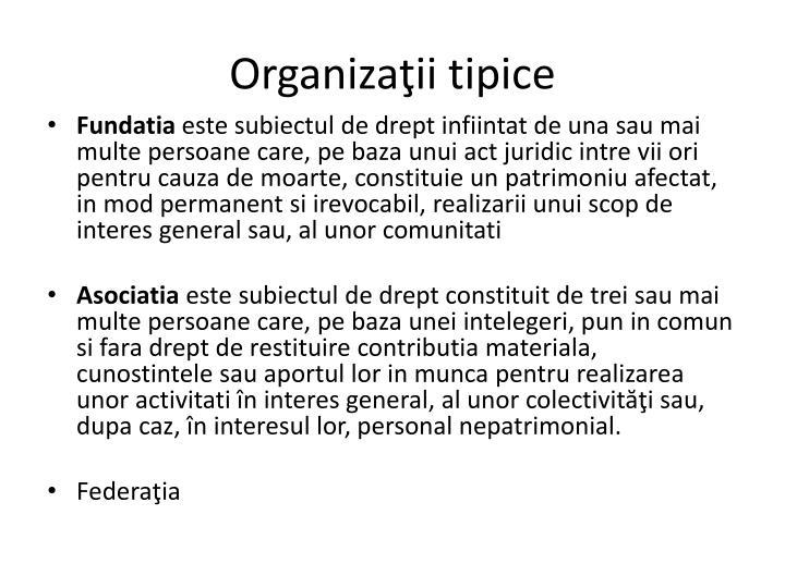 Organizaţii tipice