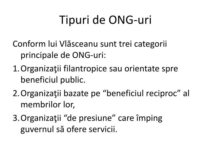 Tipuri de ONG-uri