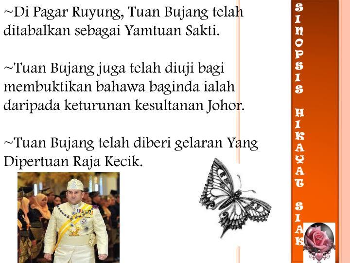 ~Di Pagar Ruyung, Tuan Bujang telah ditabalkan sebagai Yamtuan Sakti.