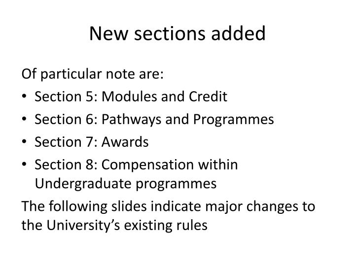New sections added