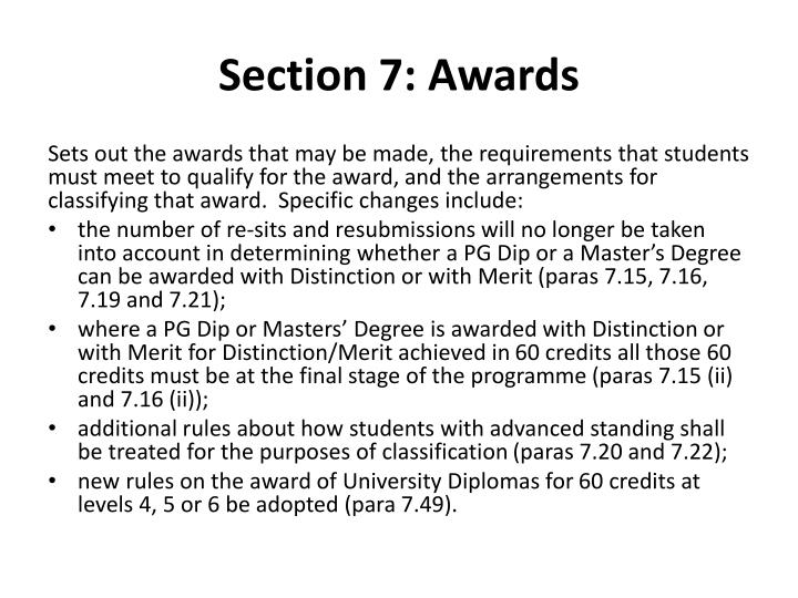 Section 7: Awards