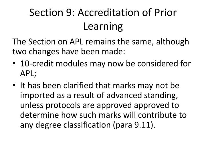 Section 9: Accreditation of Prior Learning