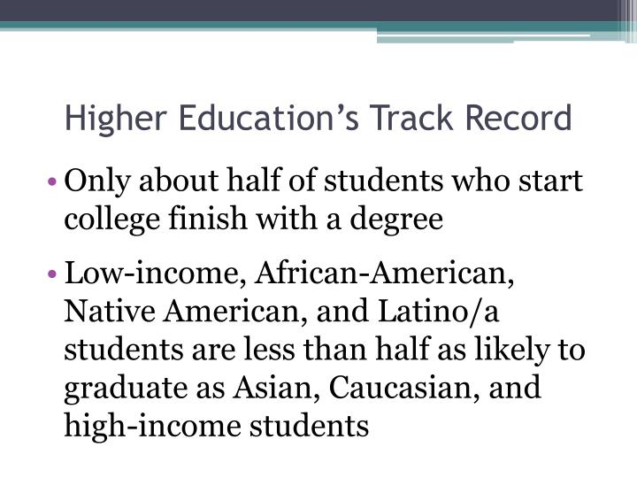 Higher Education's Track Record