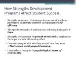 how strengths development programs affect student success