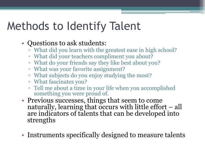Methods to Identify Talent