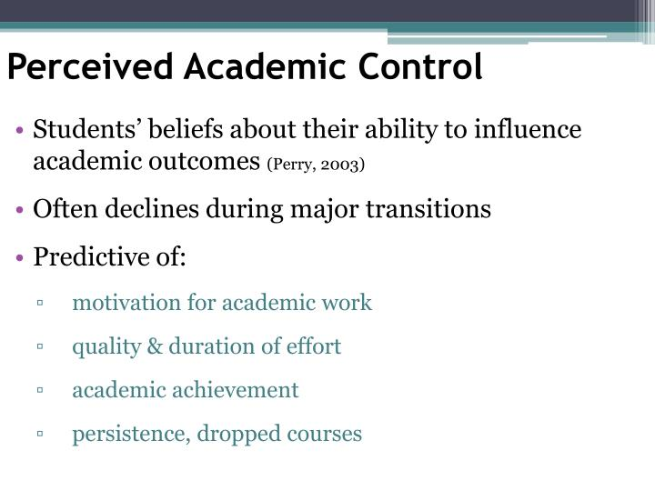 Perceived Academic Control