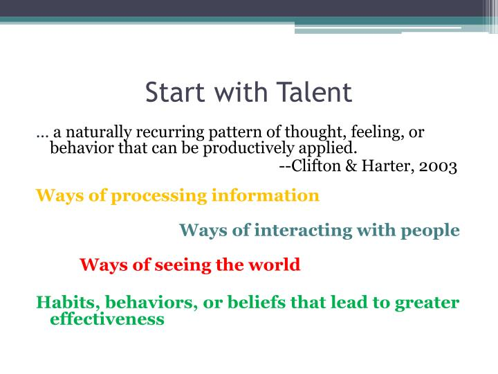 Start with Talent