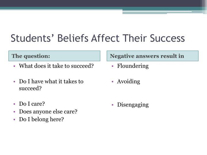 Students' Beliefs Affect Their Success