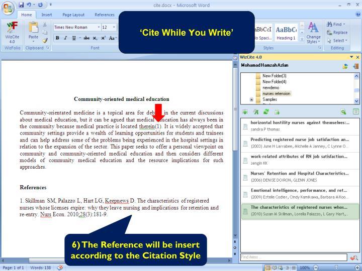'Cite While
