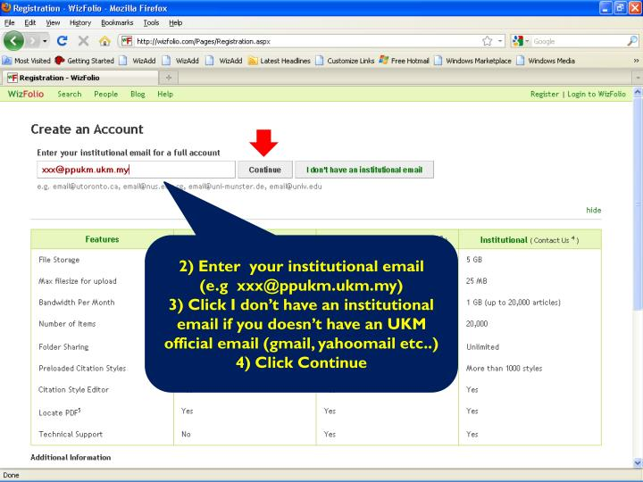 2) Enter  your institutional email