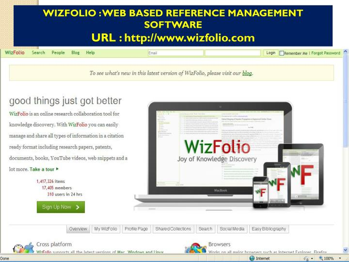 WIZFOLIO : WEB BASED REFERENCE MANAGEMENT SOFTWARE