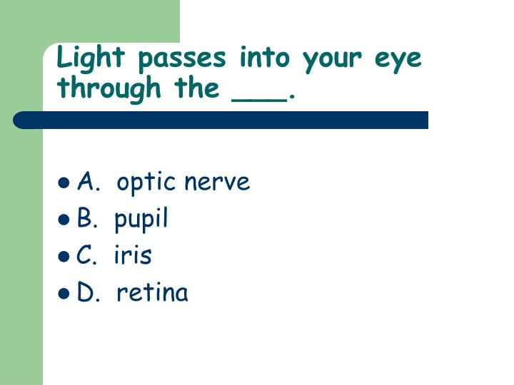 Light passes into your eye through the ___.