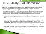 p6 2 analysis of information