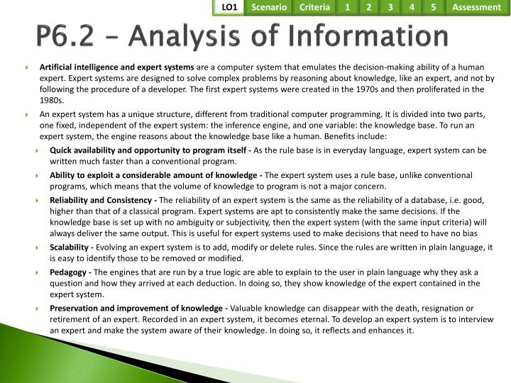 P6.2 – Analysis of Information