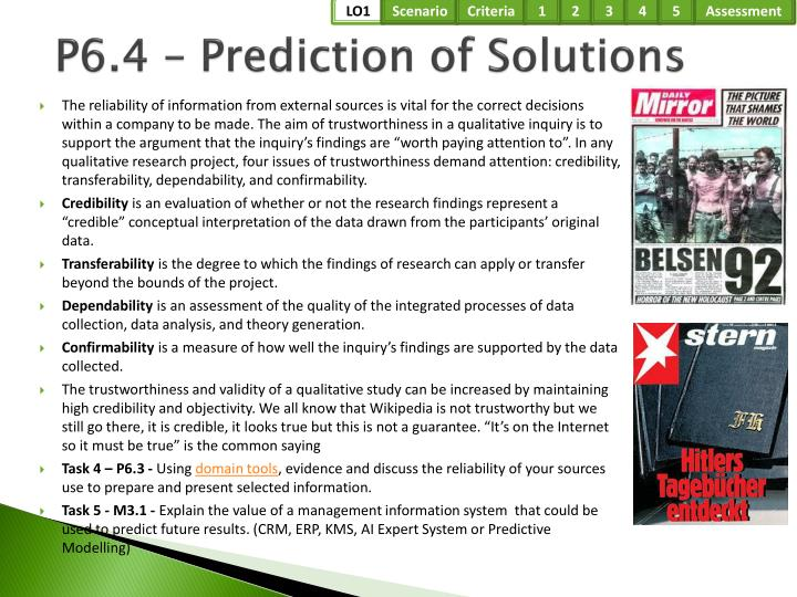 P6.4 – Prediction of Solutions