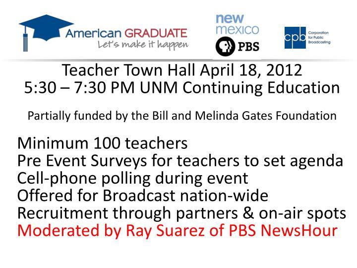 Teacher Town Hall April 18, 2012