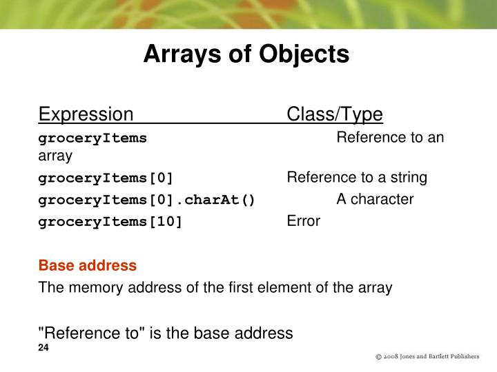 Arrays of Objects