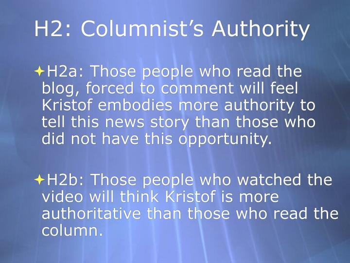 H2: Columnist's Authority