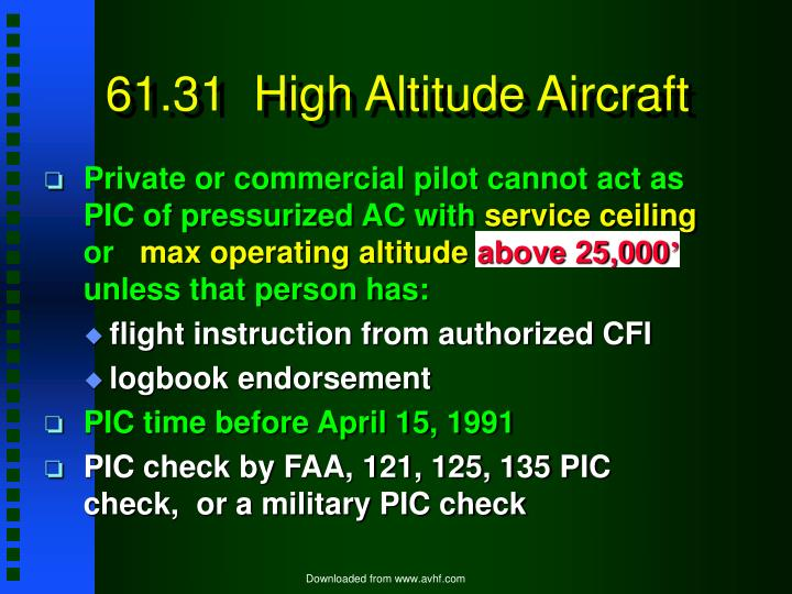 61.31  High Altitude Aircraft