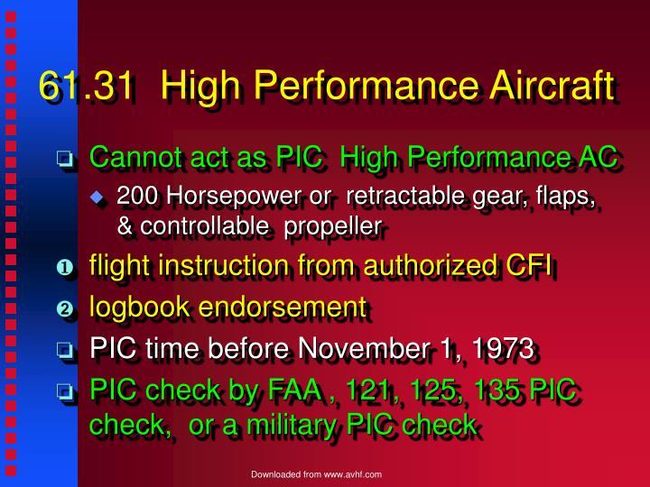 61.31  High Performance Aircraft
